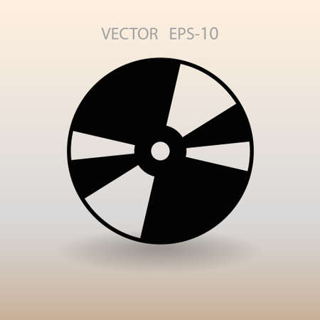 recordable: Flat  icon of DVD disc. vector illustration
