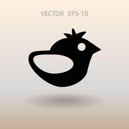 tweet icon: Flat icon of bird. vector illustration