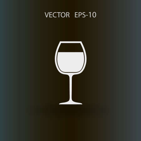 cabernet: Flat a wine glass icon, vector illustration