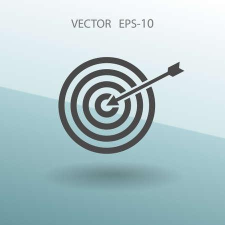 shooting at goal: Flat icon of aim vector illustration Illustration
