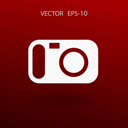 photography equipment: Flat icon of a camera. vector illustration Illustration