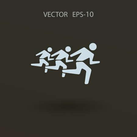 mans: Flat icon of running mans. vector illustration