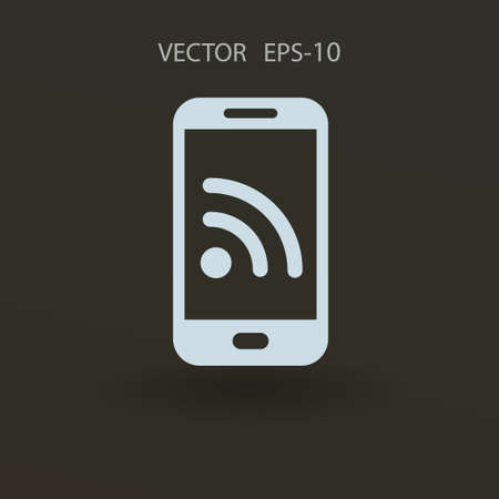 syndication: RSS mobile icon. vector illustration