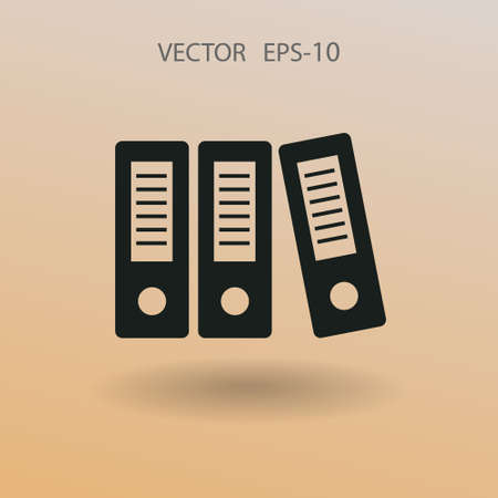row: Flat long shadow Row of binders icon, vector illustration