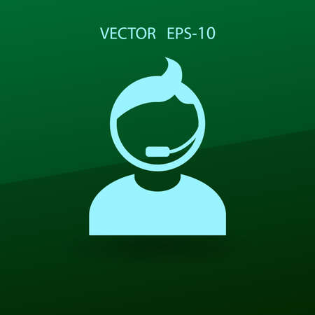 telemarketer: Flat icon of support. vector illustration