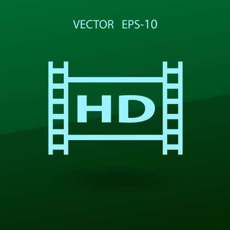 hd: Flat icon of hd video. vector illustration