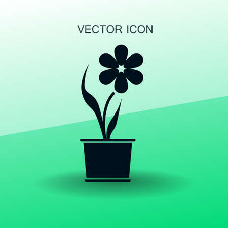 potted: potted plant flower icon vector illustration