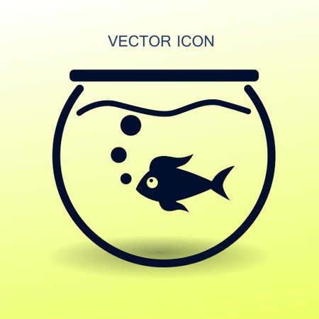 gold fish bowl: Aquarium and fish vector icon Illustration