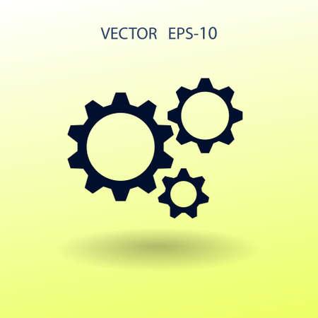 Flat icon of gears. vector illustration