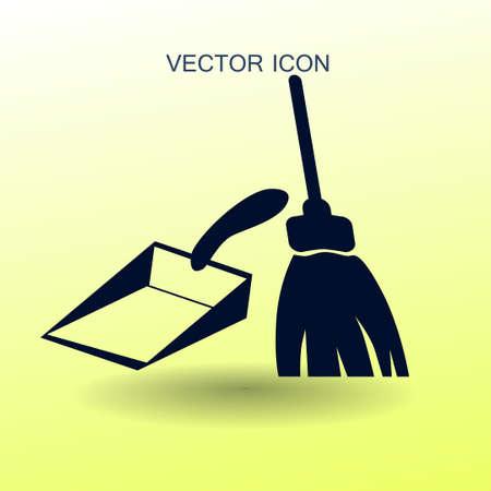 broom and dustpan vector illustration