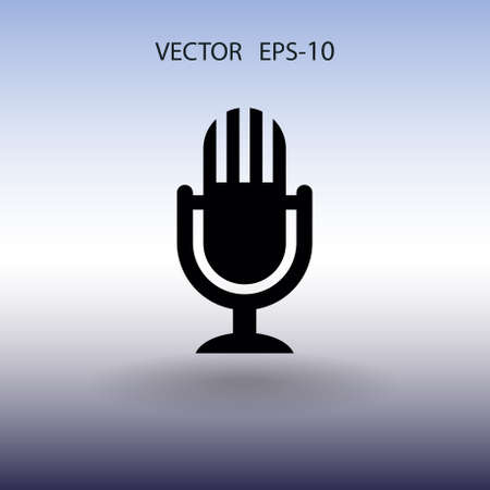 Flat  icon of microphone. vector illustration Stock Photo