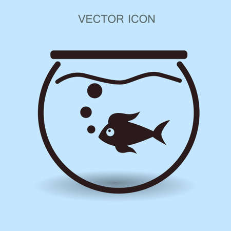 Aquarium and fish vector icon Illustration