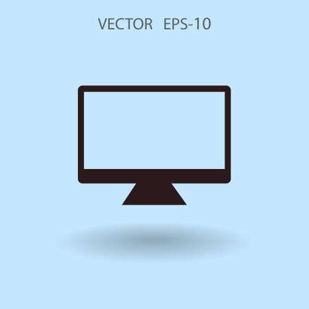 hdtv: Flat icon of monitor. vector illustration Illustration
