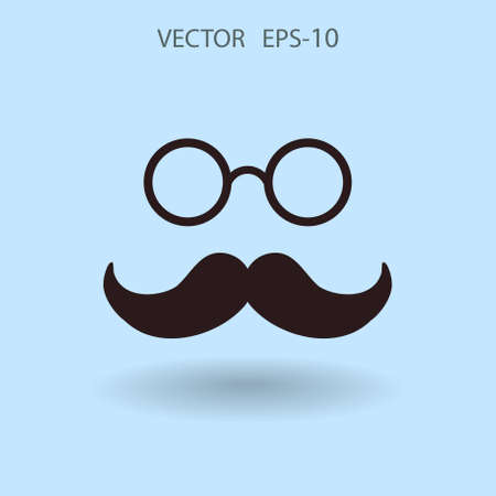 Flat long shadow Hipster retro style mustache and eyeglasses icon, vector illustration Illustration