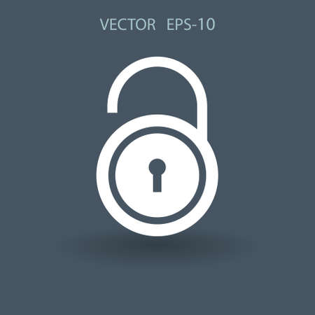 coded: Flat icon of unlock. vector illustration Illustration