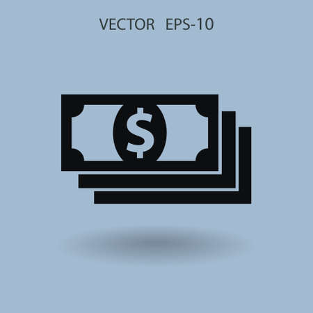 Flat icon of money. vector illustration Иллюстрация