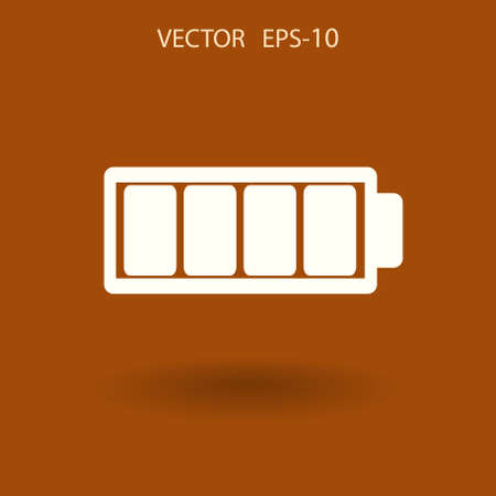 Flat battery full icon, vector illustration