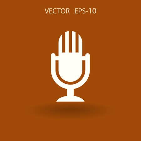 Flat  icon of microphone. vector illustration Illustration