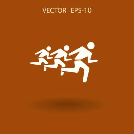 man's: Flat icon of running mans. vector illustration