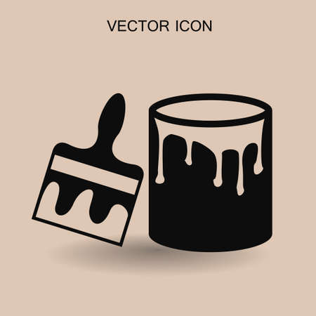 paint container: paint brush icon vector illustration