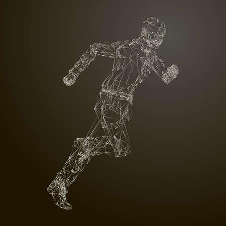 3d Grid running man model. Vector Illustration.