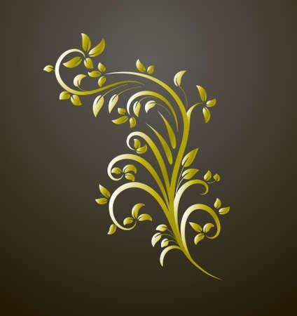 Vintage gold decor element. Vector wicker lines. Floral calligraphic elegant ornament