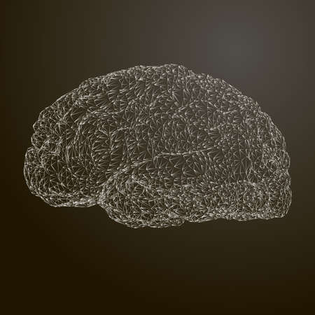 Stylized vector illustration of the brain. Conceptual image of thinking.