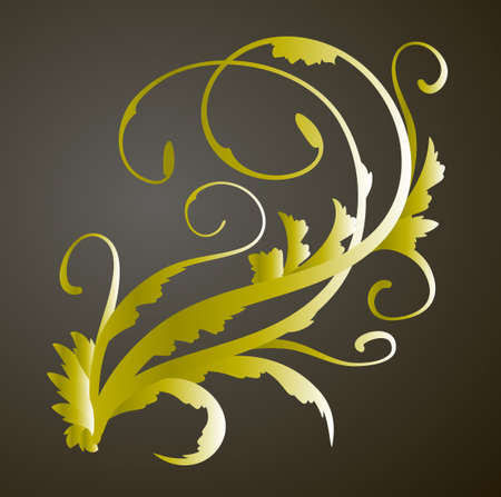 Vintage gold decor element. Vector wicker lines. Floral calligraphic elegant ornament