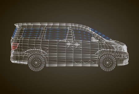 Stylized vector illustration of the brandless minivan car. Conceptual image of transportation