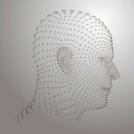 3d Grid man head model. Vector Illustration. Illustration