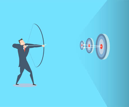 Happy young businessman hits the target. The concept of victory. Vectores