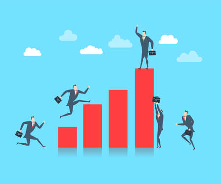Young happy businessman on the top of the finance graph. Flat vector illustration