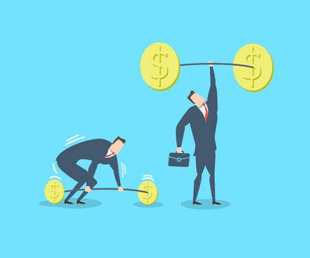 Young happy businessman as a superhero lifts a huge load with one hand. Flat vector illustration Illustration