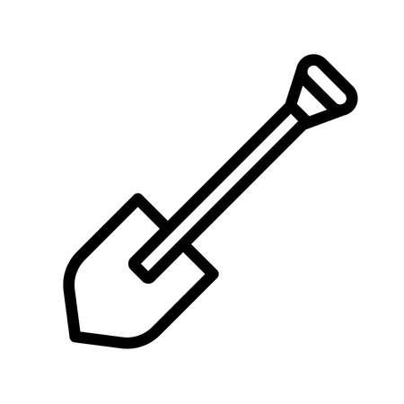 Icône de pelle. Illustration vectorielle de jardinage. Symbole de signe d'équipement de construction.
