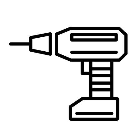 Cordless screwdriver linear style icon. Vector illustration isolated on white background