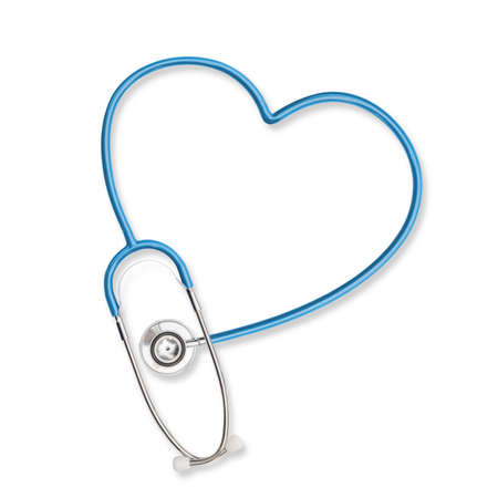 Isolated doctor's stethoscope in heart shape, symbolic teal color on white background with clipping path Фото со стока