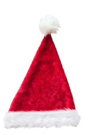 Santa Claus helper hat costume isolated on white background with clipping path for Christmas and New Year holiday seasonal celebration design decoration. Stock Photo
