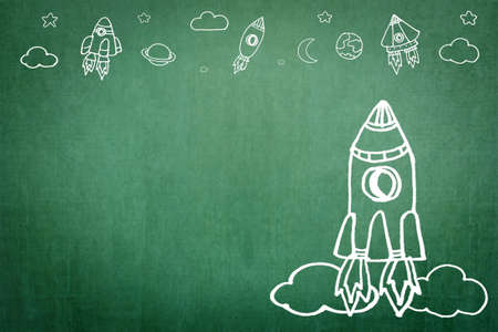 Startup rocket for business start-up project, entrepreneur innovation with creative spaceship launching doodle imagination drawing on office or school chalkboard Stok Fotoğraf