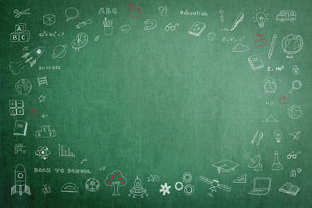 Doodle on green school teacher's chalkboard background with blank copyspace for childhood imagination and education success concept 免版税图像