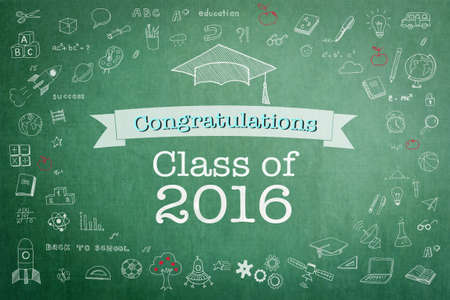 Graduation congratulations class of 2016 greeting announcement for educational congrats card with student's cap doodle on school green teacher's chalkboard background