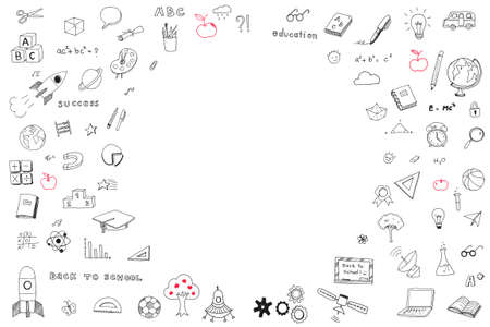 Children's childhood creative idea and school education success concept with student's hand drawing doodle on white wall background with blank copyspace Stock Photo