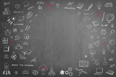 Doodle on black school teachers chalkboard background with blank copyspace for childhood imagination and education success concept Stock Photo