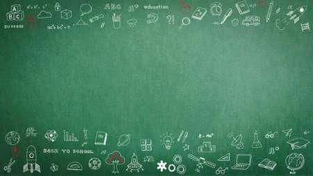 Fond de tableau de l'enseignant de l'école verte avec doodle et espace de copie vierge pour l'imagination de l'enfance et le concept de réussite de l'éducation Banque d'images