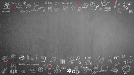 Doodle on black school teacher's chalkboard background with blank copyspace for childhood imagination and education success concept Stock Photo