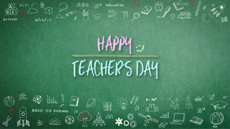 Happy teachers day greeting on green chalkboard and doodle freehand sketch chalk drawing for teacher's appreciation week
