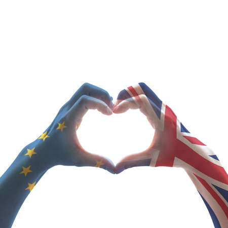 United kingdom great Britain and EU European union flag on people hands in heart shape on white background Stock Photo - 112510621