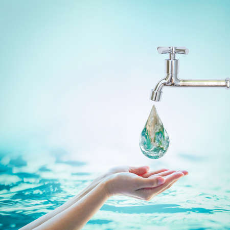 Saving water and world environmental protection concept