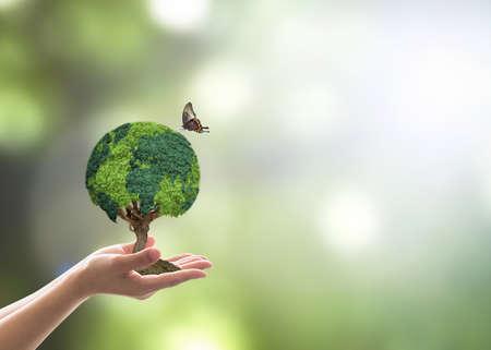 Grüner Globusbaum auf freiwilliger Hand für nachhaltige Umwelt und Naturschutz im CSR-Konzept