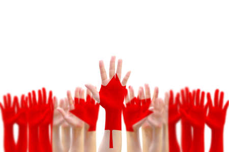 Canada flag pattern pf peoples hand raising up on blue sky for national holiday celebration and voting rights Stok Fotoğraf