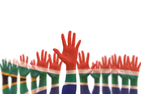 South Africa national flag on leaders palms isolated on white background (clipping path) for human rights, leadership, reconciliation concept